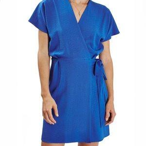 TOPSHOP   Crepe Wrap Cobalt Blue Mini Dress